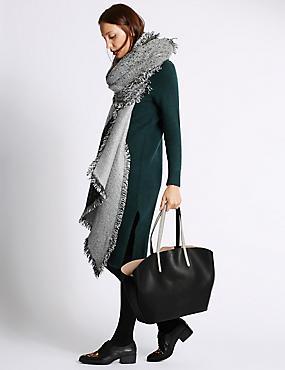Faux Leather Shopper Bag, BLACK MIX, catlanding