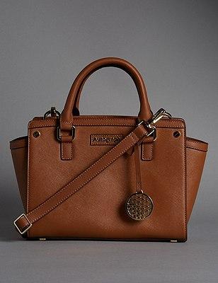 Leather Trim Textured Across Body Bag, TAN, catlanding