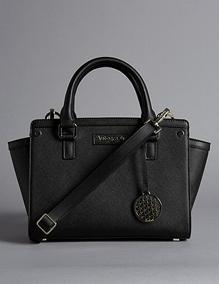 Leather Trim Textured Across Body Bag, BLACK, catlanding