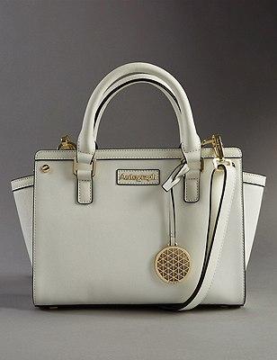 Leather Trim Textured Across Body Bag, WHITE, catlanding