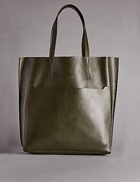 Leather Tilder Shopper Bag, KHAKI, catlanding