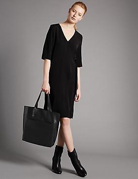 Leather Tilder Shopper Bag, BLACK, catlanding
