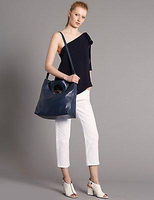 Leather Dolly Shopper Bag, NAVY, catlanding