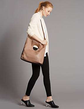 Leather Dolly Shopper Bag, NUDE, catlanding