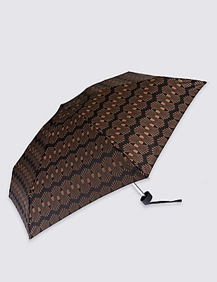 Decorative Geo Compact Umbrella with Stormwear™, BLACK MIX, catlanding
