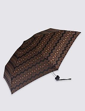Decorative Geo Compact Umbrella with Stormwear™, BLACK MIX, catlanding