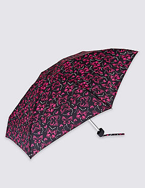 Butterfly Spots Compact Umbrella with Stormwear™, BLACK MIX, catlanding