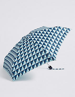 Spotted Compact Umbrella with Stormwear™, BLUE MIX, catlanding
