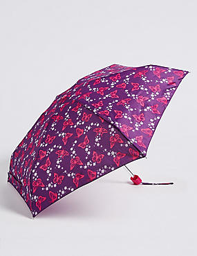 Butterfly Print Compact Umbrella with Stormwear™ , PURPLE MIX, catlanding