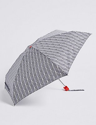 Printed Compact Umbrella with Stormwear™, NAVY MIX, catlanding