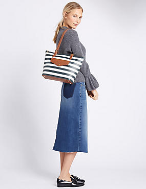 Faux Leather Buckle Shopper Bag, NAVY MIX, catlanding
