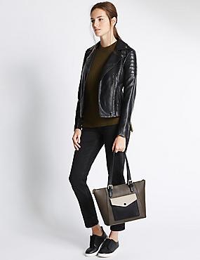 Faux Leather Buckle Shopper Bag, KHAKI MIX, catlanding