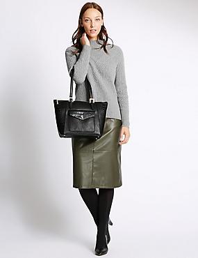 Faux Leather Buckle Shopper Bag, BLACK MIX, catlanding