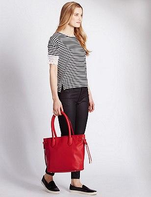 Faux Leather Side Tie Shopper Bag, RED, catlanding