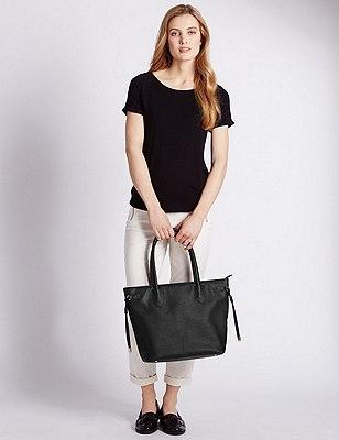 Faux Leather Side Tie Shopper Bag, BLACK, catlanding