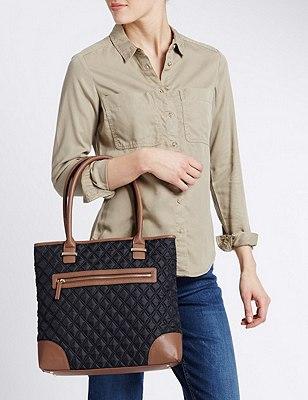 Quilted Zipped Shopper Bag, NAVY MIX, catlanding