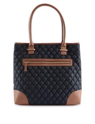 Стёганая сумка шоппер на молнии