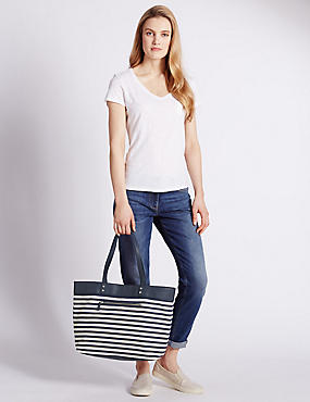 Pure Cotton Nautical Striped Shopper Bag