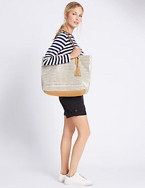Metallic Stripe Shopper Bag , METALLIC, catlanding