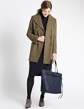 Faux Leather Tie Side Shopper Bag, NAVY, catlanding