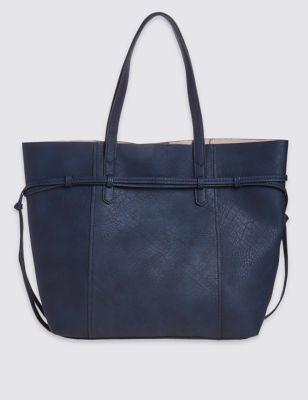 Сумка шоппер из искусственной кожи с боковым шнурком M&S Collection T011083V