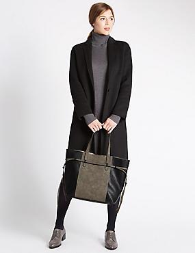 Faux Leather Tie Side Shopper Bag, KHAKI MIX, catlanding