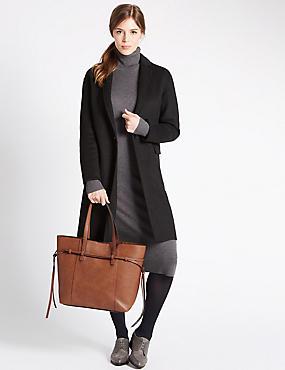 Faux Leather Tie Side Shopper Bag, TAN, catlanding