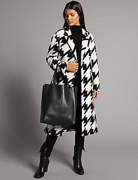 Leather Shopper Bag, DARK GREEN, catlanding