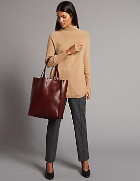 Leather Shopper Bag, OXBLOOD, catlanding