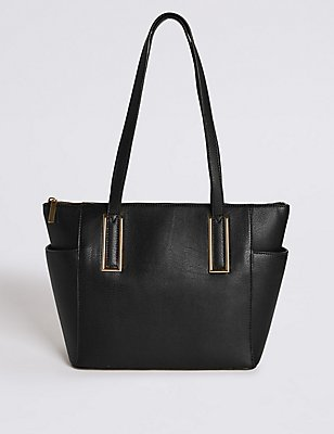 Faux Leather Metal Tab Shopper Bag, BLACK, catlanding