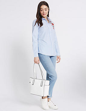 Faux Leather Metal Tab Shopper Bag, WHITE, catlanding