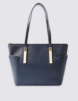 Faux Leather Shopper Bag, NAVY, catlanding