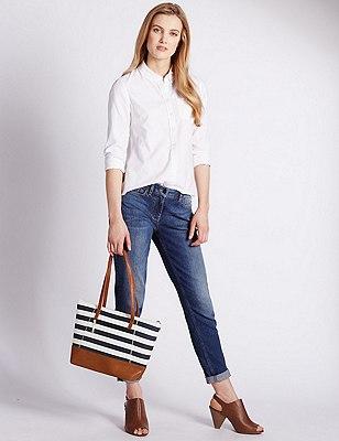 Faux Leather Shopper Bag, NAVY MIX, catlanding