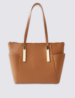 Faux Leather Shopper Bag, TAN, catlanding