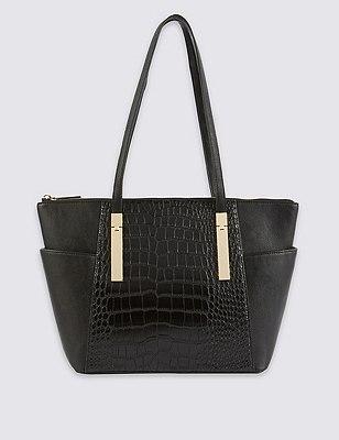 Faux Leather Shopper Bag, BLACK, catlanding