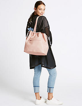 Drawstring Shopper Bag, PALE PINK, catlanding