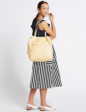 Drawstring Shopper Bag, YELLOW, catlanding