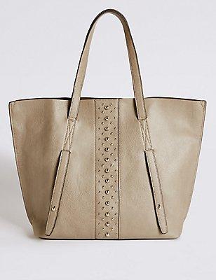 Faux Leather Shopper Bag, GREY, catlanding