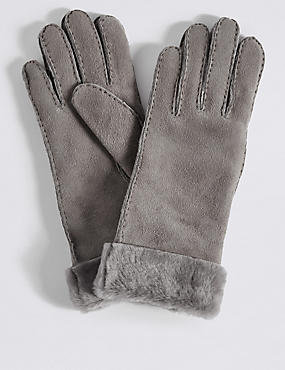 Leather Gloves, GREY, catlanding