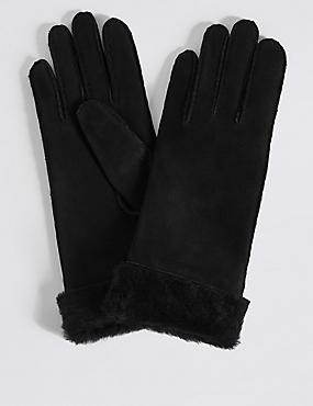 Leather Gloves, BLACK, catlanding