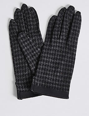Houndstooth Gloves with Cuff, NAVY MIX, catlanding