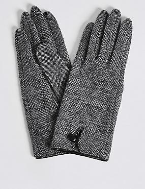 Wool Rich Button Loop Gloves, GREY MIX, catlanding