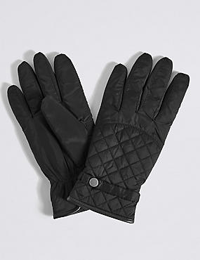 Faux Leather Quilted Popper Gloves, BLACK, catlanding