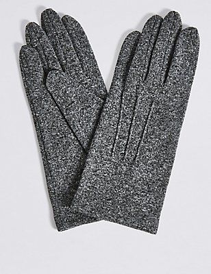 Stitch Detail Gloves, GREY MIX, catlanding