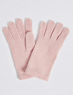 Soft Knitted Gloves, PINK, catlanding