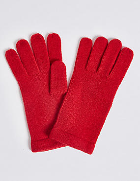 Soft Knitted Gloves, RED, catlanding