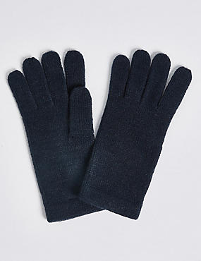 Soft Knitted Gloves, NAVY, catlanding