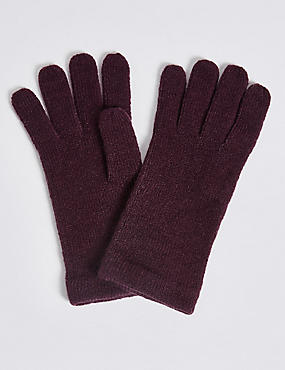 Soft Knitted Gloves, DARK GRAPE, catlanding