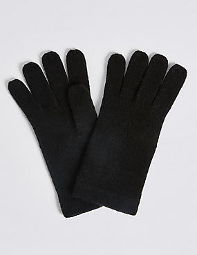 Soft Knitted Gloves, BLACK, catlanding