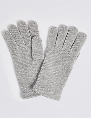 Soft Knitted Touchscreen Gloves, GREY MIX, catlanding